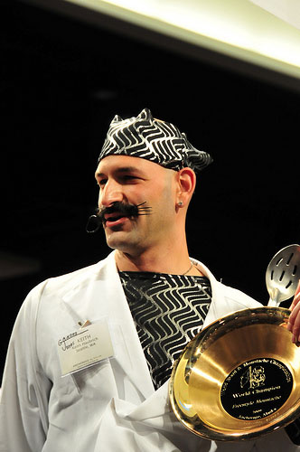 Keith Haubrich aka Gandhi Jones aka DJ Cheese Omelet, 1st place Freestyle Moustache catergory, 2009 World Beard and Moustache Championships